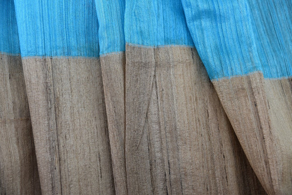 90A964 Want a simple saree online in USA? Buy this traditional beige & blue gicha silk Indian sare that will make for a fantastic pick for pujas and wedding functions.