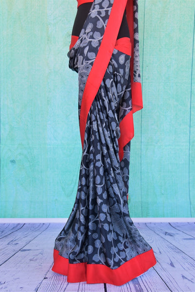 90C318 Black & Grey Printed Satin Crepe Saree