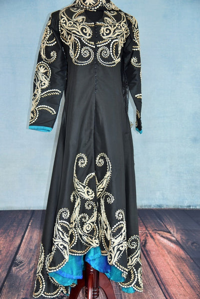500871 Black Suit With Intricate Embroidery & A Dash Of Blue