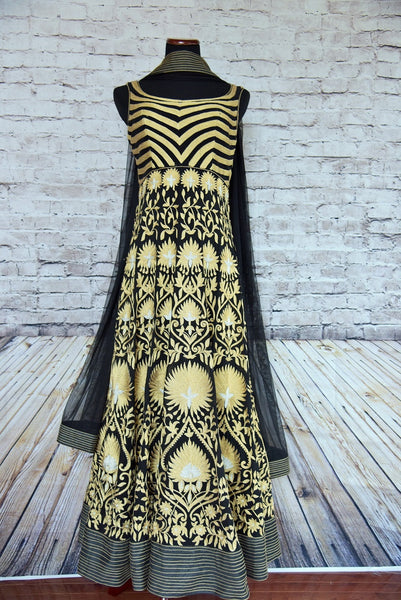 500781 - Buy the ethnic Indian black anarkali suit online or from our Pure Elegance store near NYC. It is perfect for any wedding party, reception, sangeet or engagement. Front View.