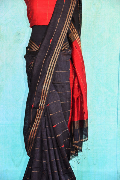 90C363 Black Matka Silk Saree With Red Pallu & Blouse