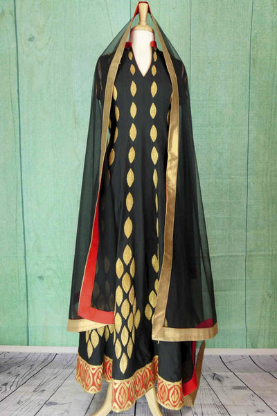 500870 Black & Gold Anarkali With Red Border
