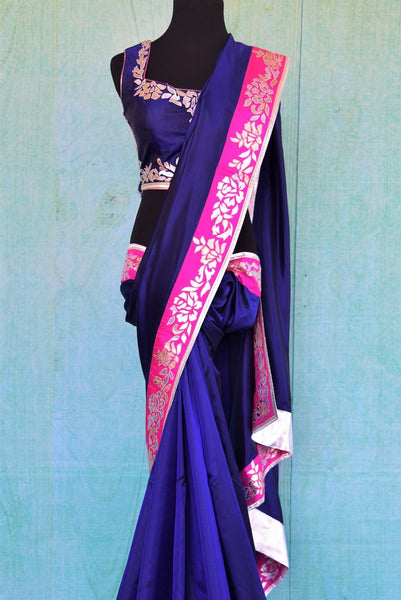 90C315 Blue Silk Saree With Leather Work