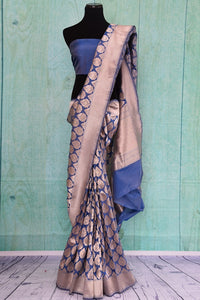 90C250 Blue and golden Banarasi silk (kathan) saree available online in USA at our Indian wear store. The traditional saree from India is a timeless ethnic outfit. This beauty is perfect for festive occasions, weddings and festivities.