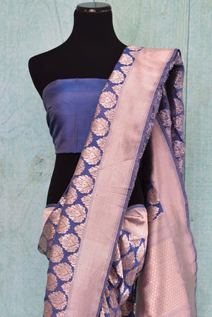 90C250 Blue and golden Banarasi silk (kathan) saree available online in USA at our Indian wear store. The traditional saree from India is a timeless ethnic outfit. This saree is an evergreen pick for your Indian clothing wardrobe.