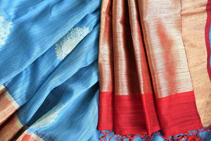 90C472 Sky Blue Tussar Benarasi Saree With Maroon Border