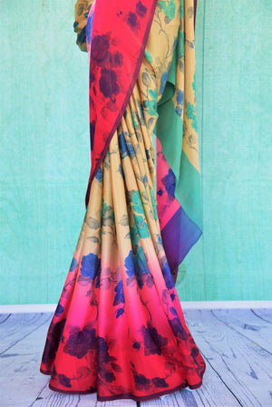 90C324 Shaded Red & Beige Floral Printed Crepe Saree