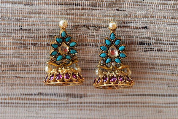 20A672 Turquoise & Purple Glass & Pearl Earrings