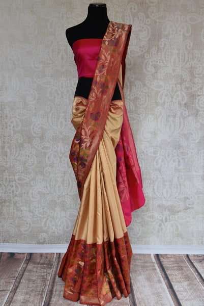 90B619 Beautiful traditional Banarasi saree with a Paithani border and pallu. This beige saree can be bought at our Indian wear store in USA (Edison) & online. This ethnic outfit has a timeless appeal and beauty!