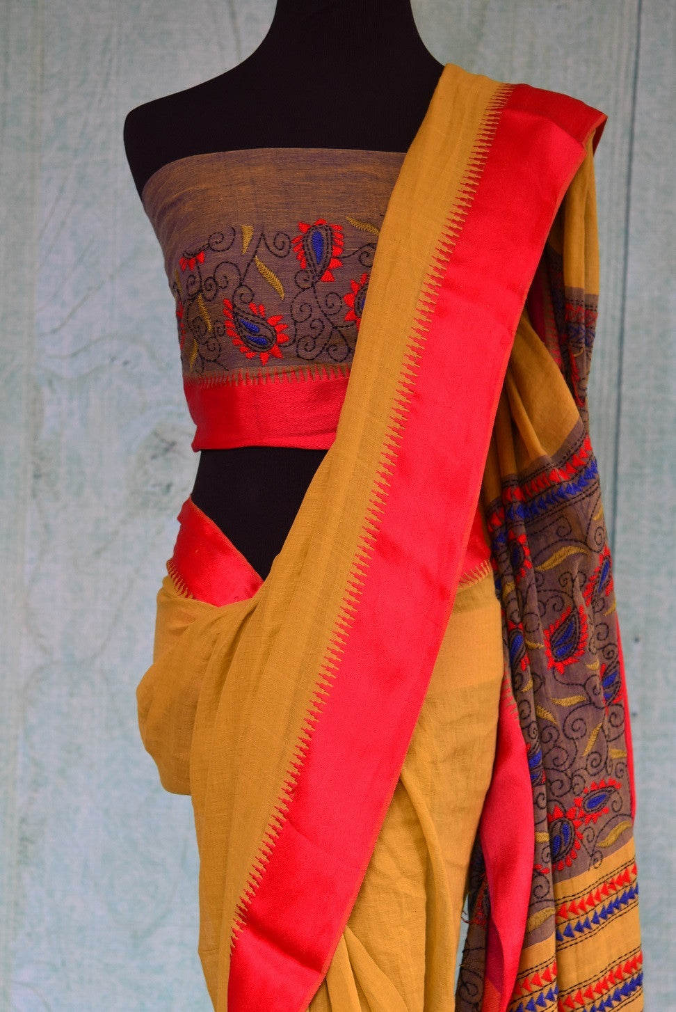 90C310 Mustard Yellow & Red Cotton Saree With Kantha Work On Pallu