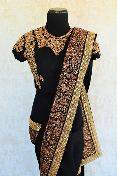 90C569 Black & Gold Chiffon Saree With Designer Blouse