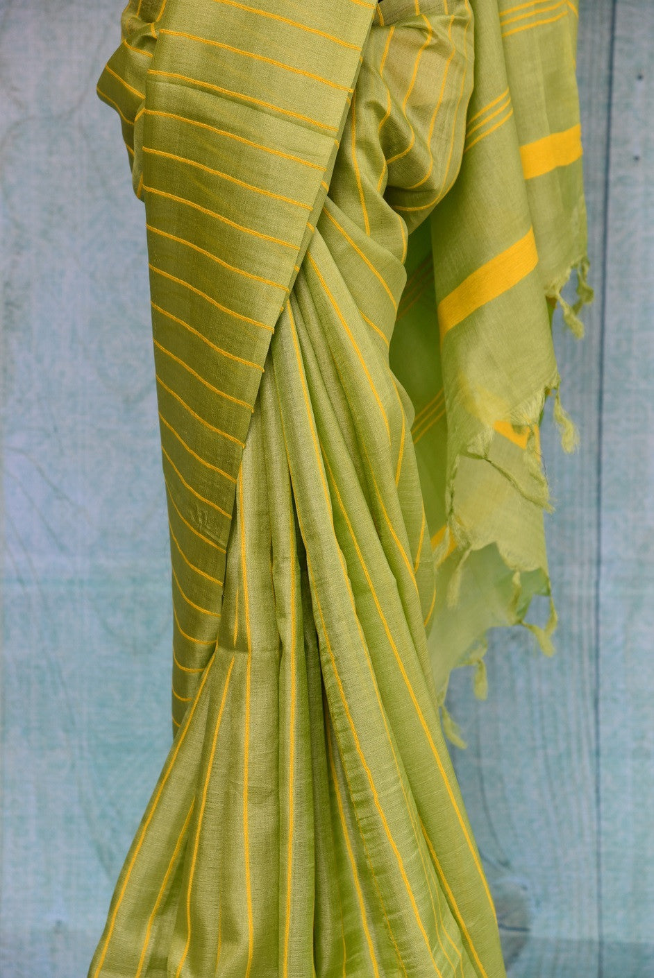 90C379 Bhagalpuri Tussar Green Saree With Yellow Stripes