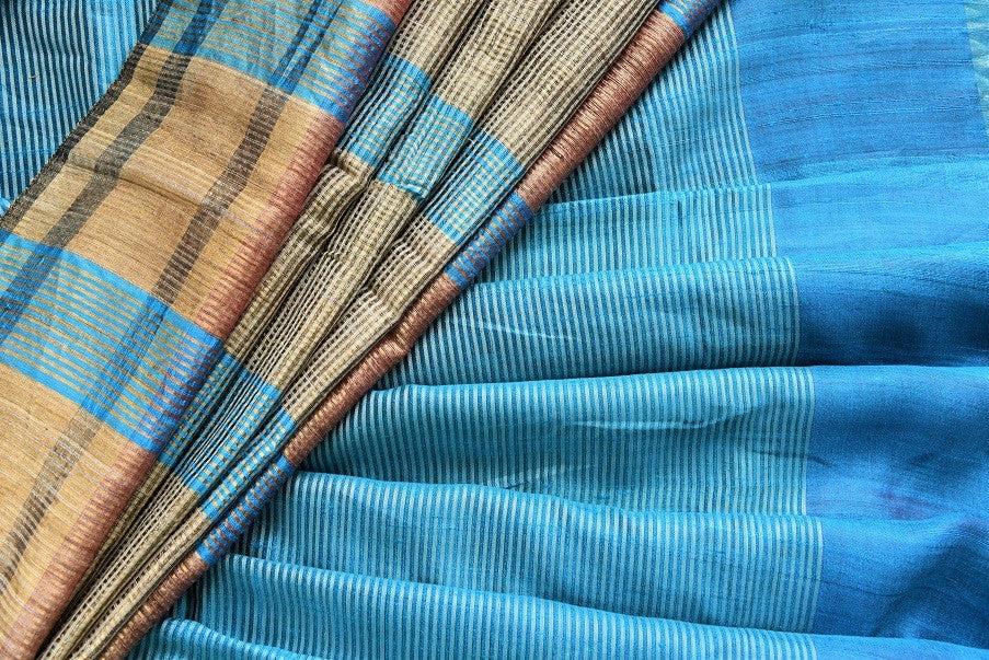 90C368 Striped Blue Bhagalpuri Tussar Saree
