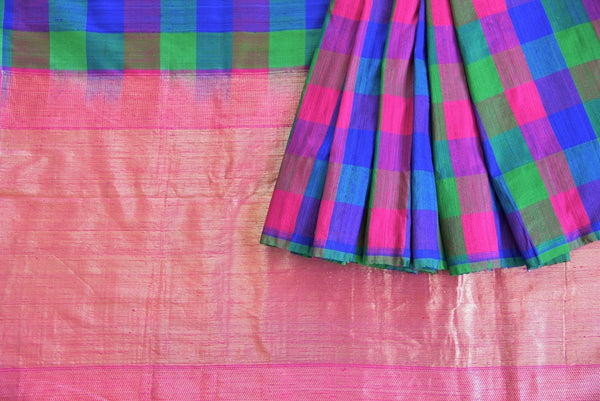 90C415 Muti Colored Checked Benarasi Saree