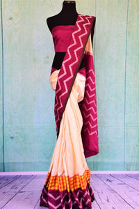 90C424 Off White & Maroon Silk Ikkat Saree