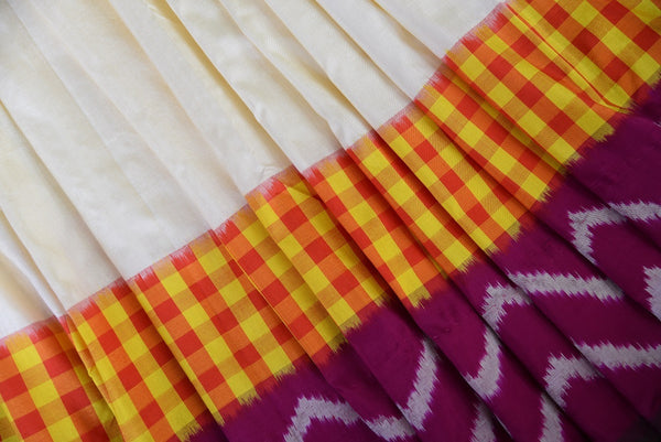 90C424 White & Maroon Silk Ikkat Saree