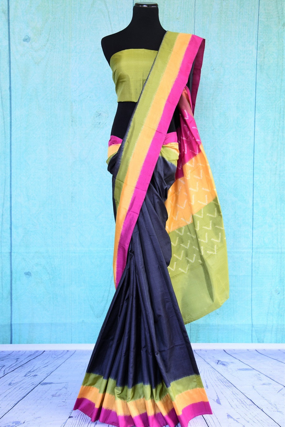 90C418 Midnight Blue Ikkat Saree With Multi Color Border