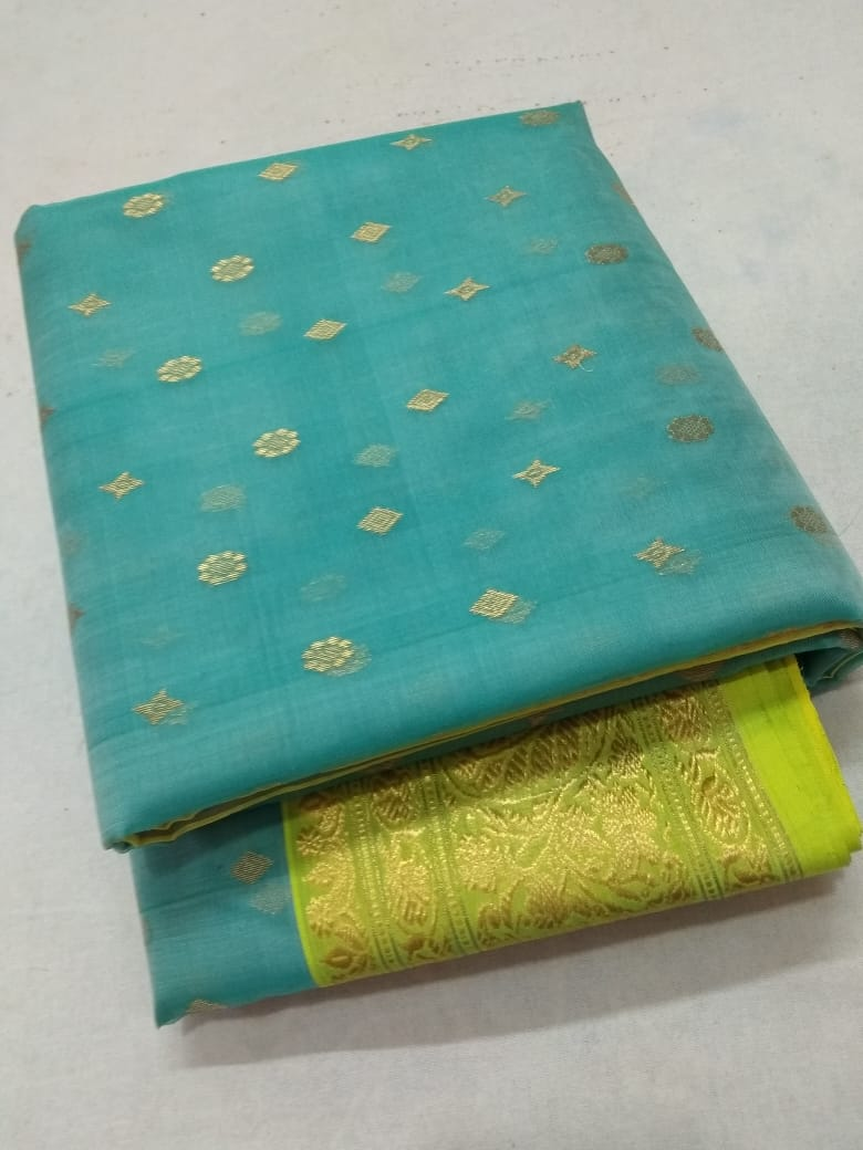 Buy beautiful light blue chanderi silk saree online in USA with green zari border. Make a fashion statement at weddings with stunning designer sarees, embroidered sarees with blouse, wedding sarees, handloom sarees from Pure Elegance Indian fashion store in USA.-front