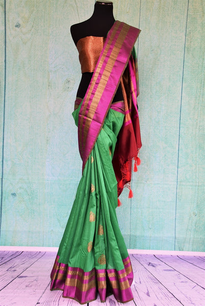 90C474 Green & Purple Tussar Benarasi Handloom Saree