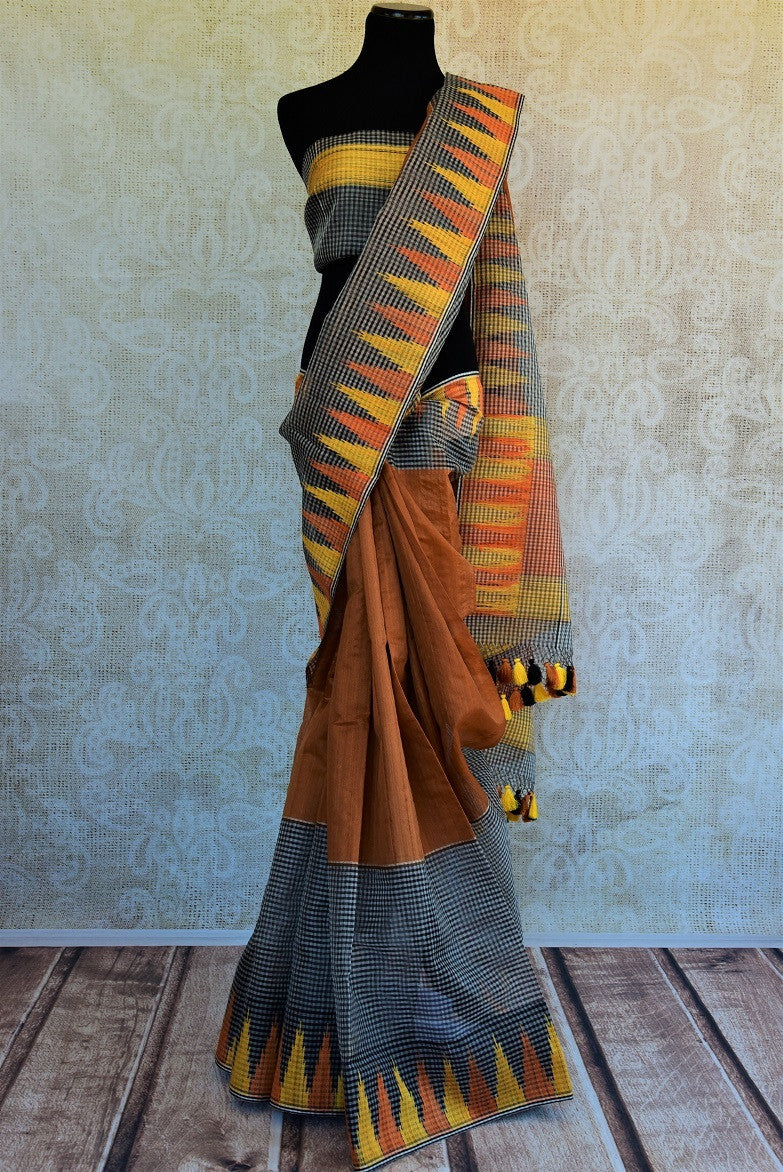 90C458 Checked Tussar Saree With Yellow Tissue Border