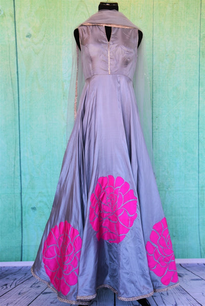 501190 Full Length Grey Anarkali With Floral Patch Work