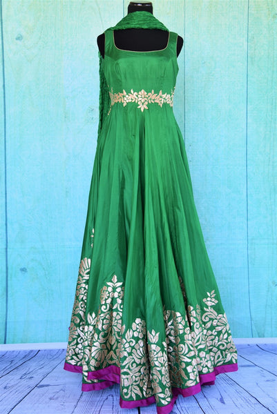 501193 Pure Silk Green Anarkali With Applique Work