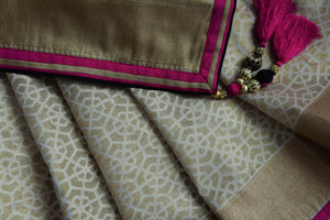 90C467 Beige & Gold Benarasi Saree With Black Blouse