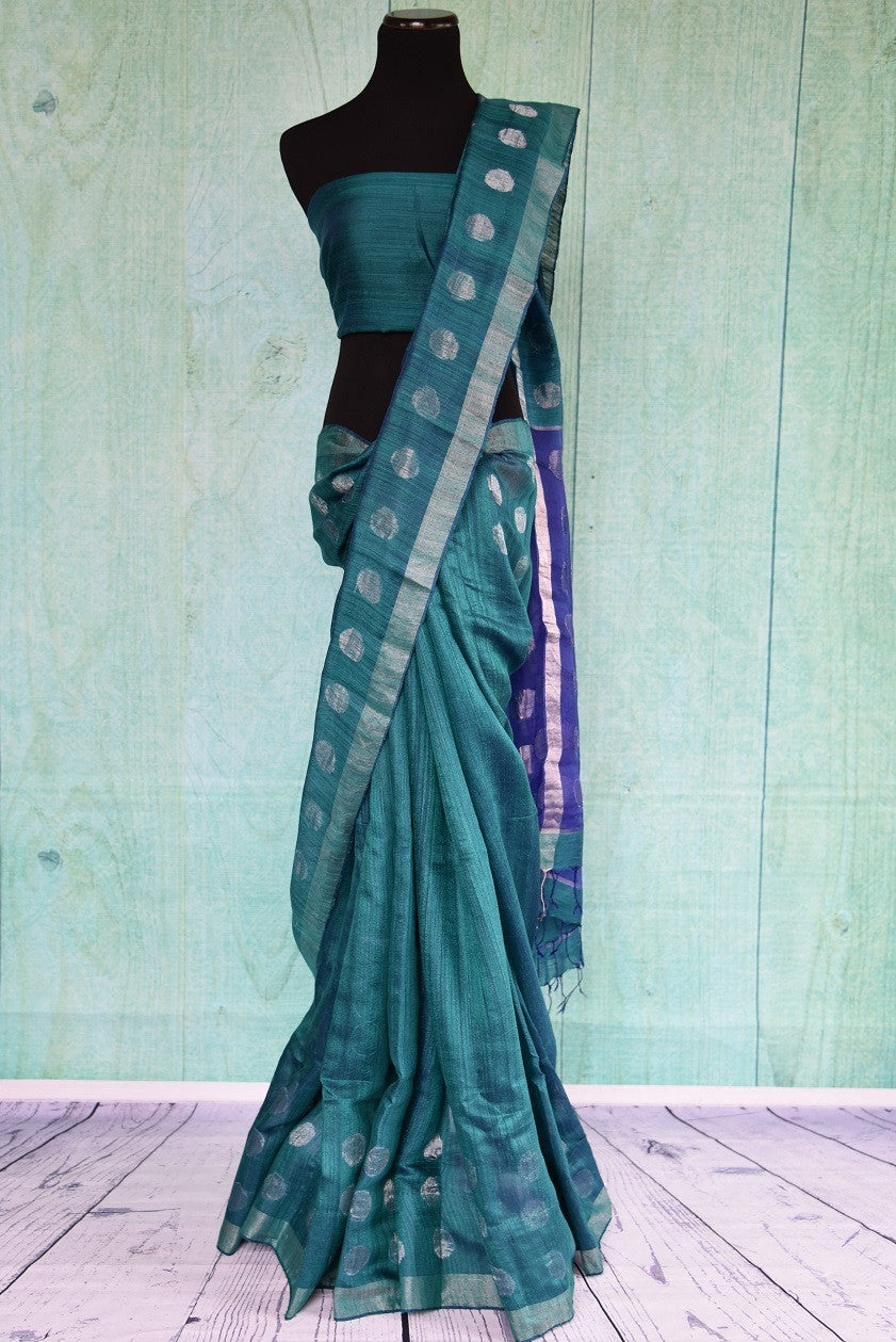 90C300 Blue Green Matka Saree With Polka Dots