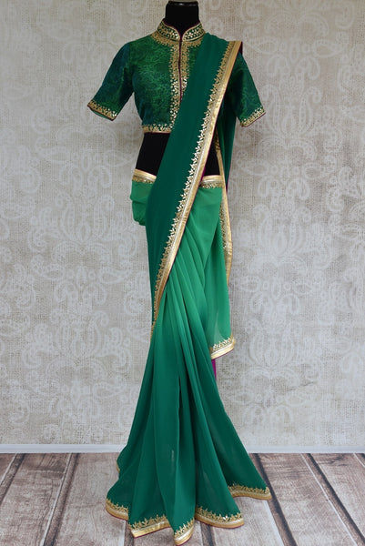 90C580 Green Georgette Saree With Hand Gota Pita Work