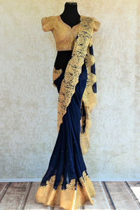 90C566 Blue Georgette Saree With Lace Border