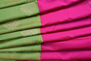 90C433 Green Kanchipuram Saree With Broad Pink Border