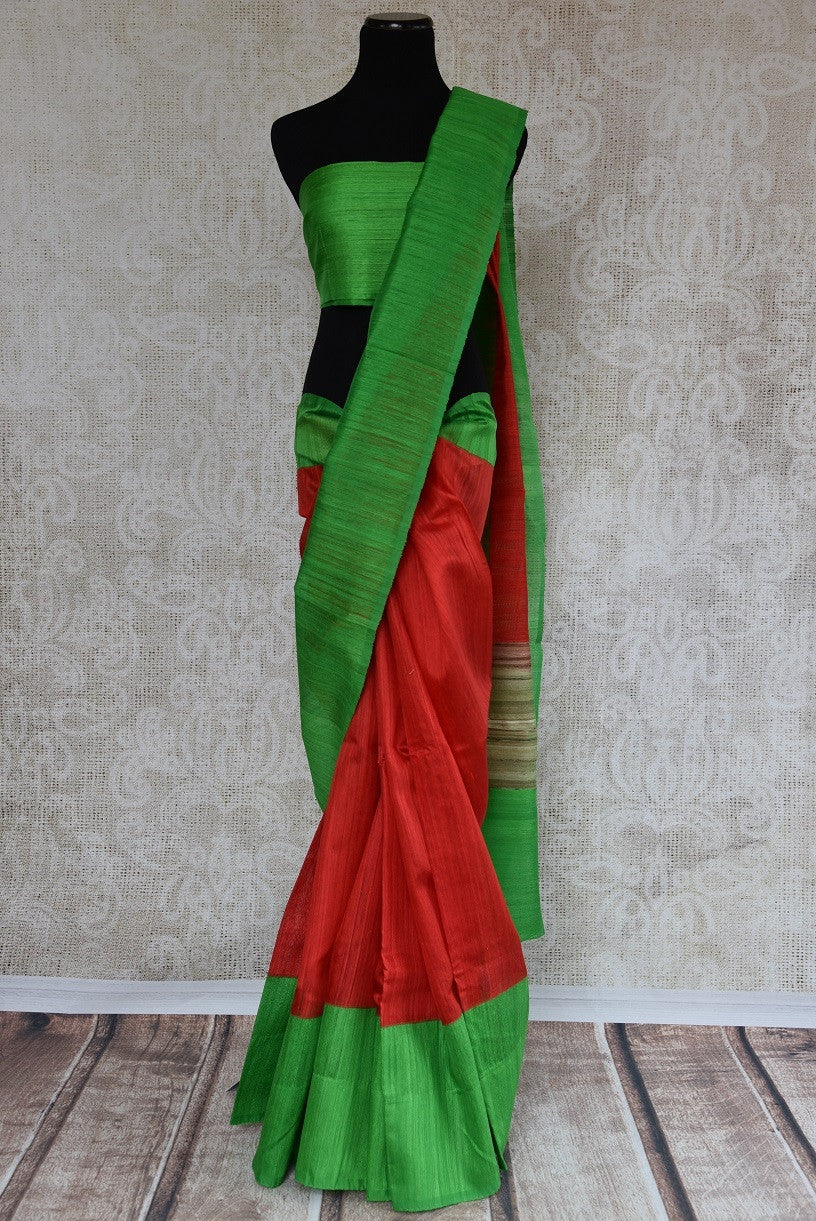 90B326 This red matka gicha saree with a green border is a perfect Indian outfit for festive occasions. The woven sari is available at our Indian ethnic wear store online in USA - Pure Elegance.