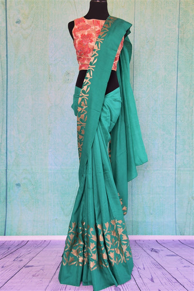 90C416 Green Tussar Georgette Saree With Pink Blouse