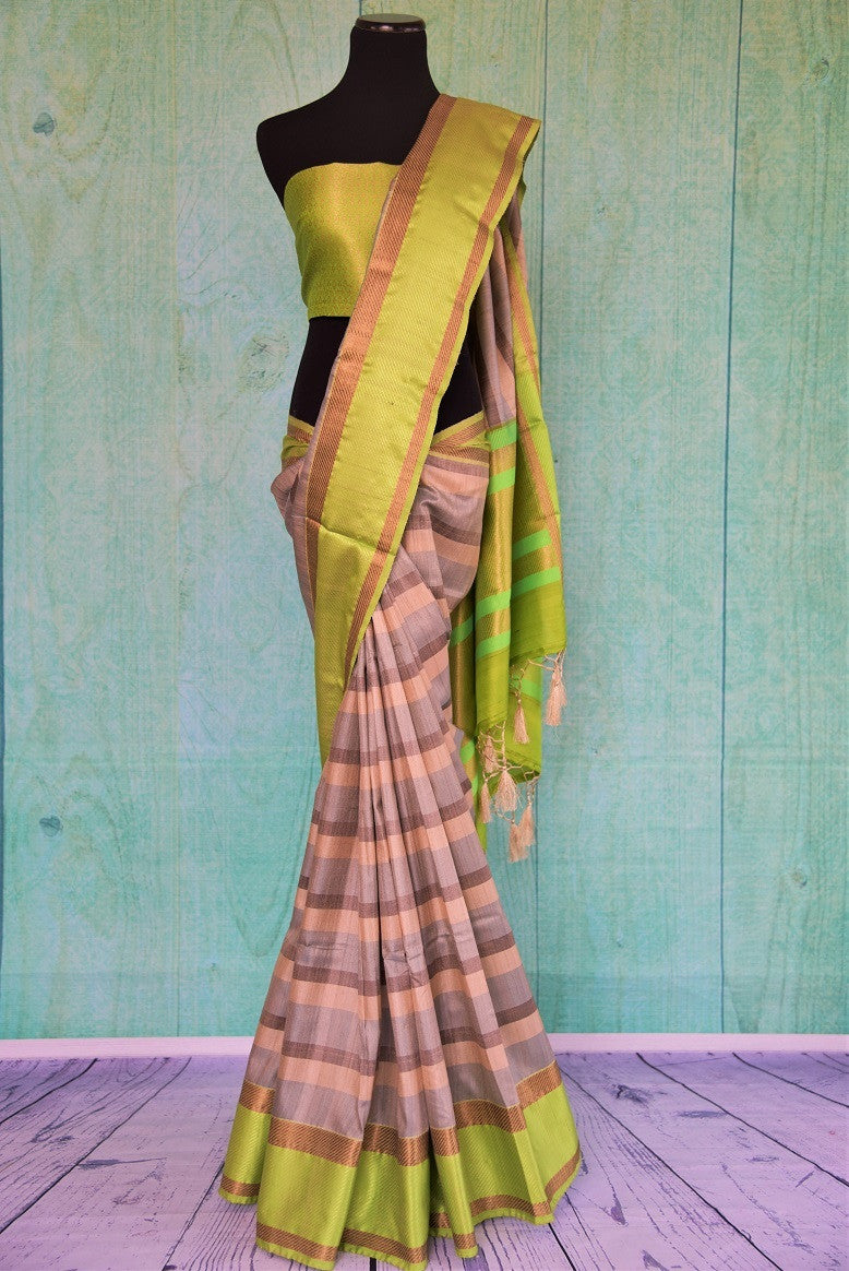 90C489 Green Grey & Beige Tussar Saree With Stripes