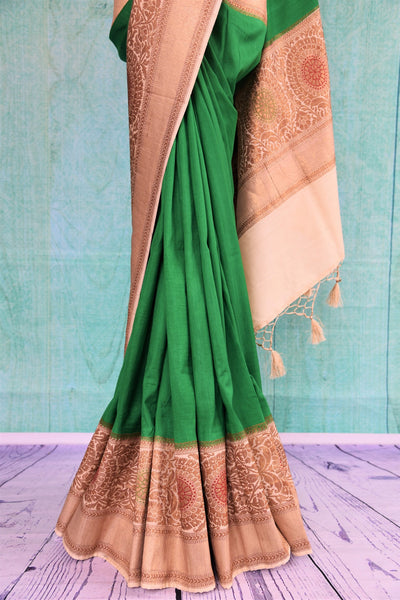 90C507 Green Tussar Georgette Saree With Beige Border & Pallu