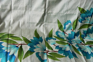 90C561 Blue & White Hand Printed Silk Floral Saree