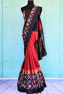 90C556 Red & Black Silk Ikkat Saree