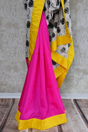 90C308 Half Pink Half White Saree With Lotus Print