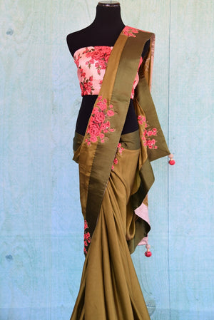90C353 Green Satin Crepe Saree With Rose Applique