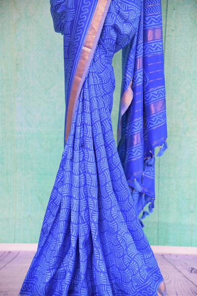 90C541 Printed Blue Maheshwari Silk Saree