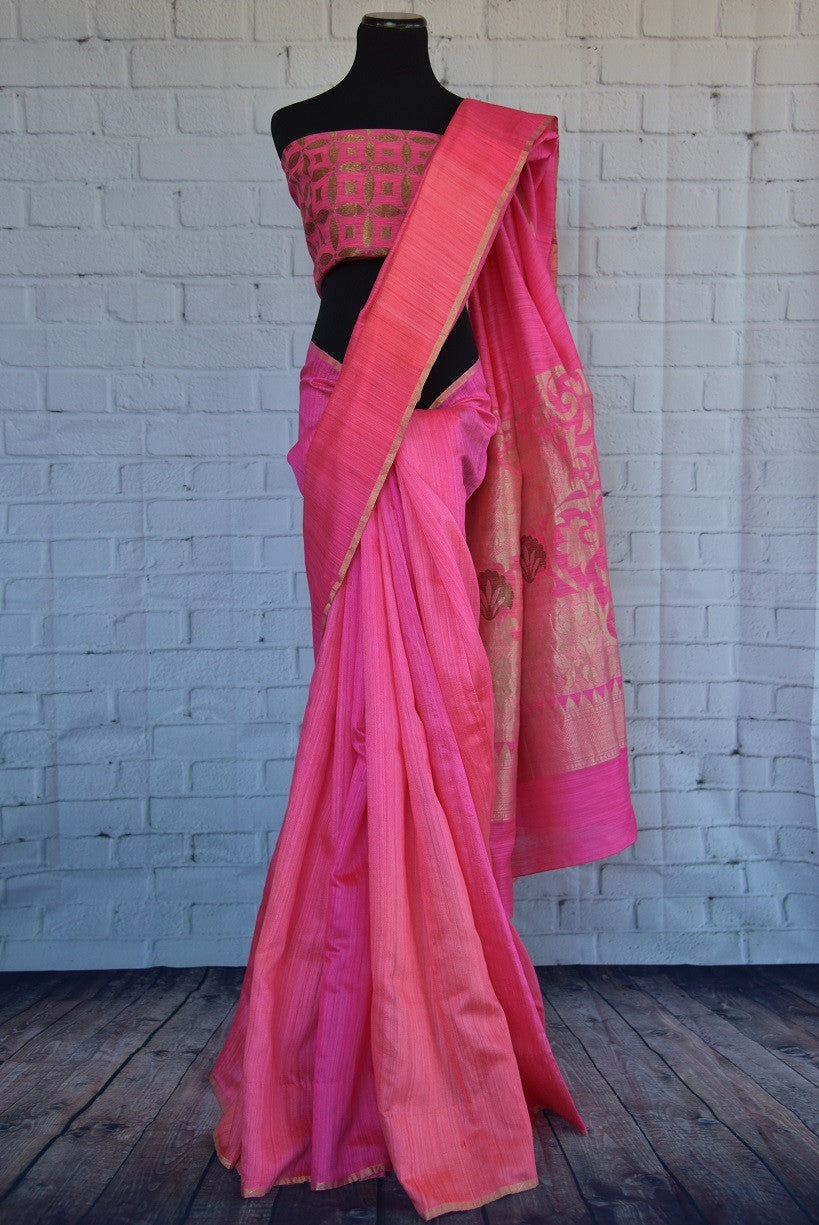90C281 Bright pink & golden saree from India, perfect for weddings, receptions & sangeet. The traditional matka Banarasi saree can be bought at our ethnic wear store online in USA.