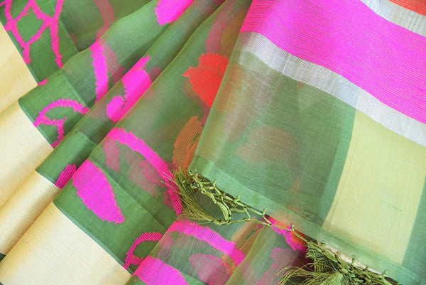 90C468 Olive Green Kora Silk Saree With Multi Colored Floral Pattern