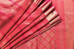 90C453 Orange & Pink Kanchipuram Saree With Gold Sheen