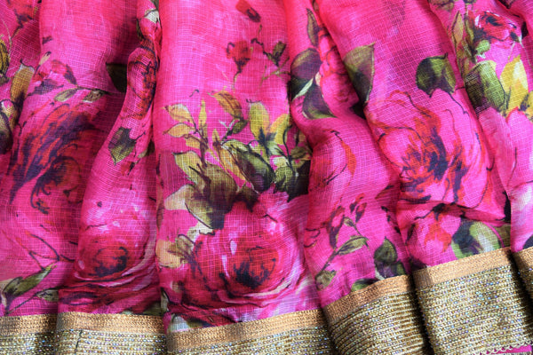 90C348 Orange & Pink Zari Kota Saree With Vintage Rose Print