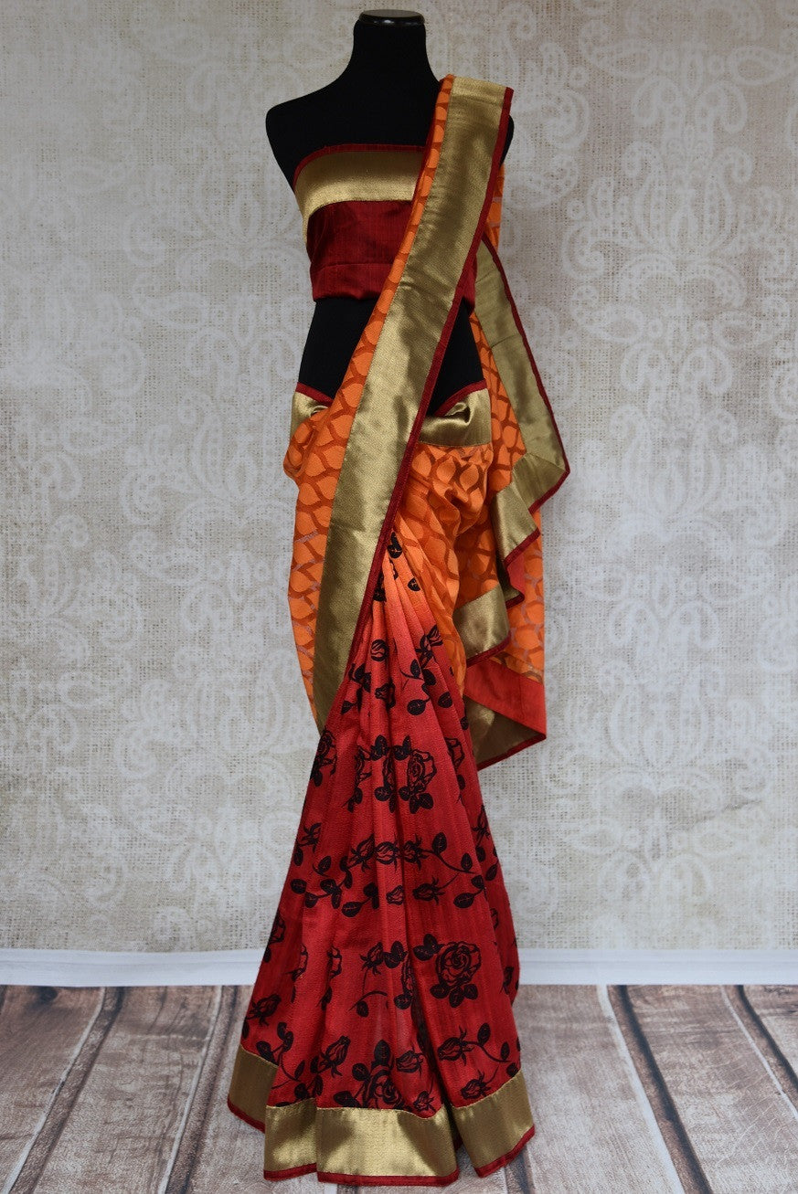 90A664 This orange & red Indian saree is a must have in your Indian clothing collection. This half jute, half matka silk saree can be bought at our ethnic clothing store online in USA.