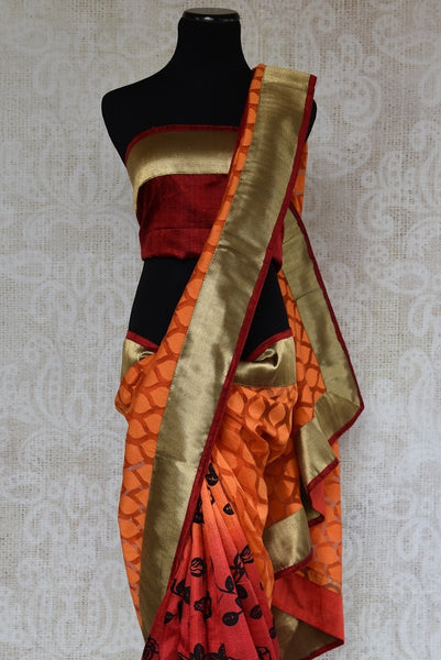 90A664 This orange & red Indian saree will be a great addition to your Indian wear collection. Buy this half jute, half matka silk saree  at our ethnic clothing store online in USA.