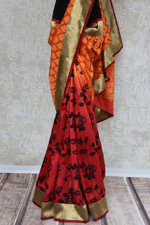 90A664 This orange & red Indian saree is a must have in your Indian wear wardrobe. This half jute, half matka silk saree can be bought at our Indian clothing store online in USA - Pure Elegance.