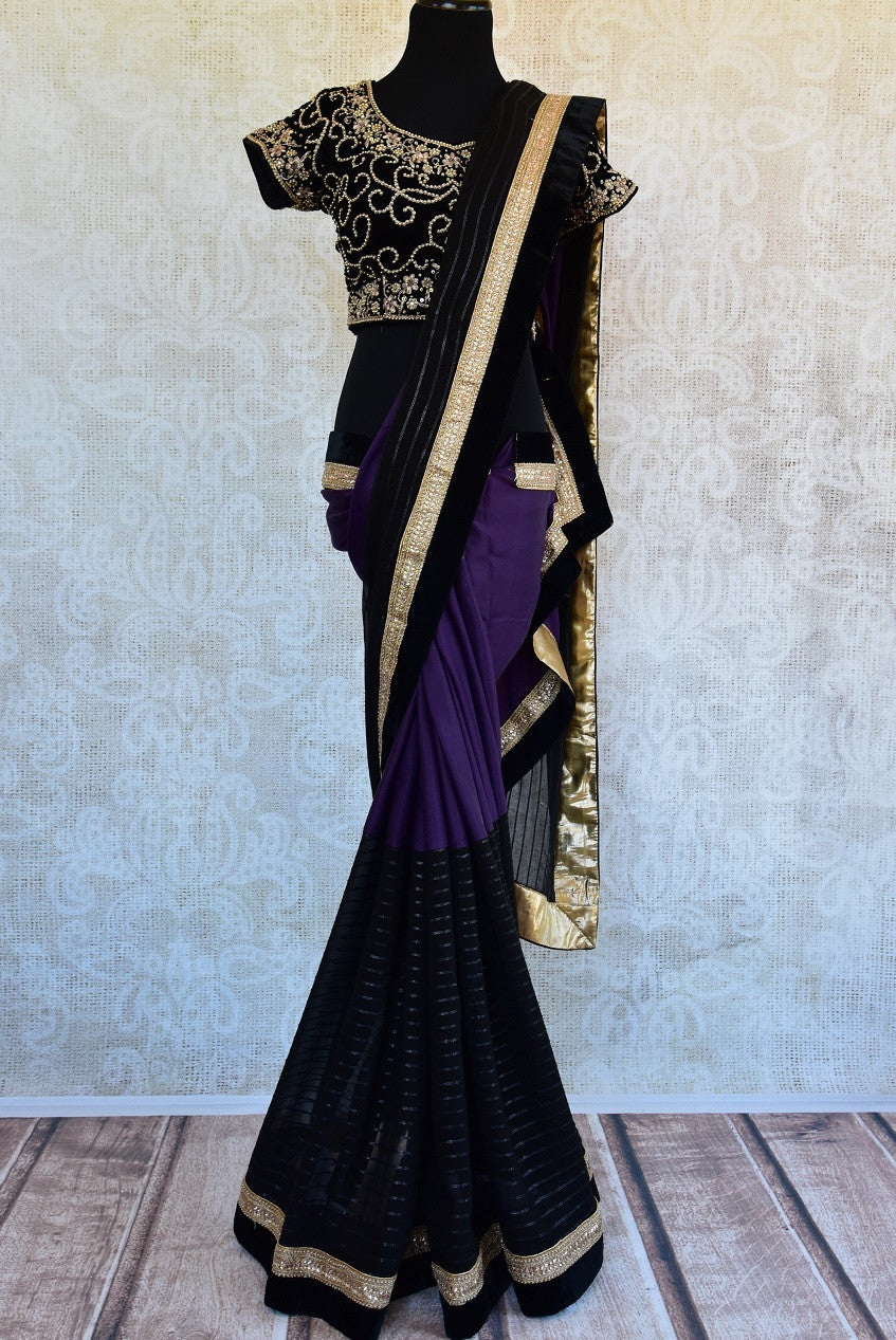 90C565 Black & Purple Georgette & Satin Saree