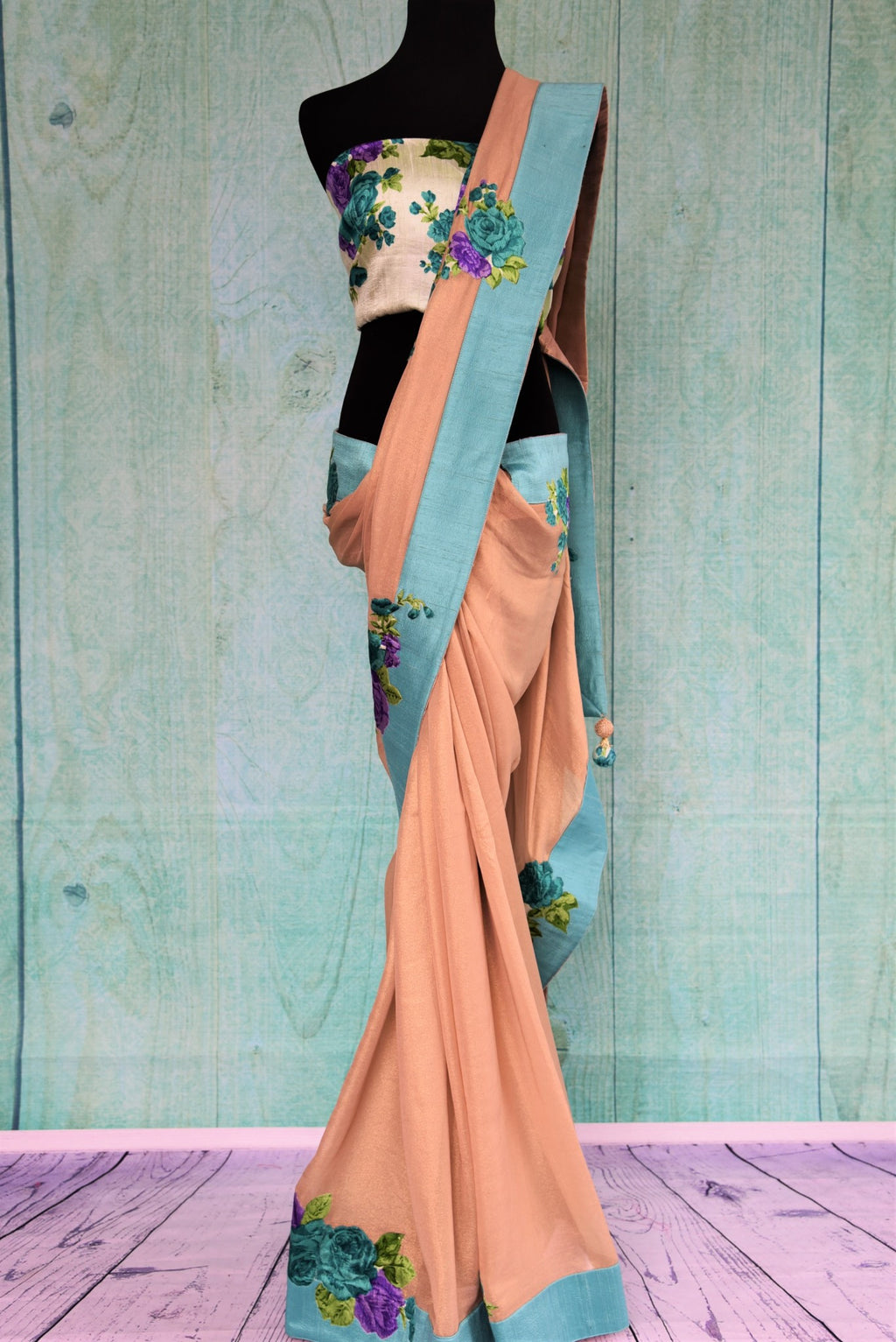 90C356 Peach & Blue Simmer Georgette Saree With Rose Applique