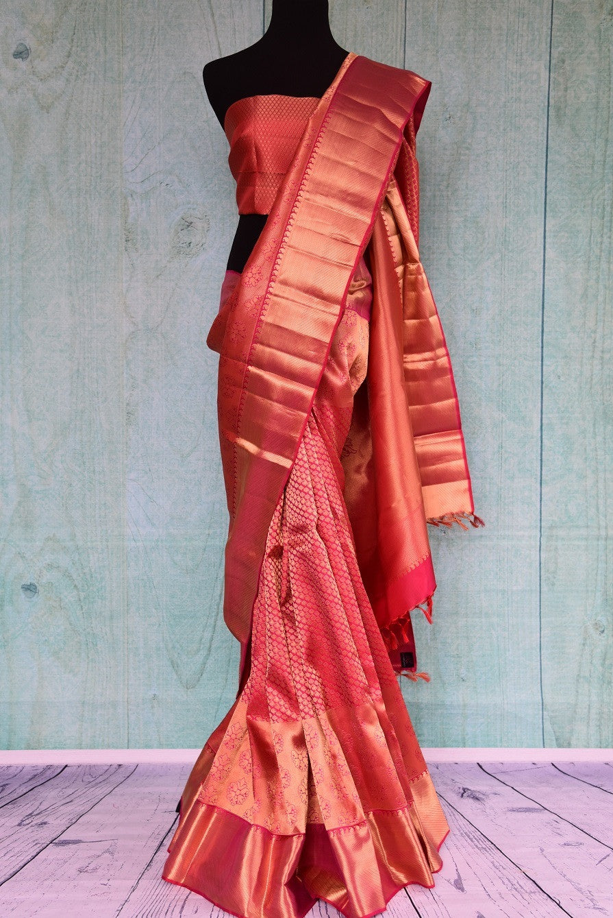 90C443 Pink & Gold Self Weave Kanchipuram Saree